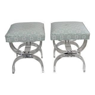 Hollis Jones Style Lucite U Benches Stools 1940s - Newly Upholstered - a Pair For Sale