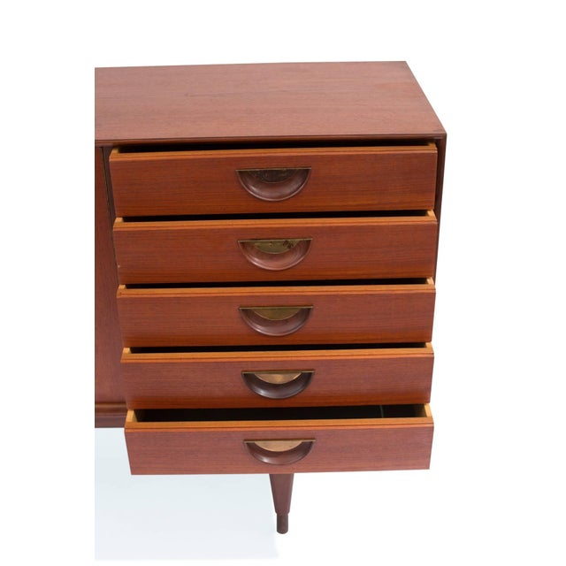 Teak and Brass Credenza For Sale - Image 4 of 6