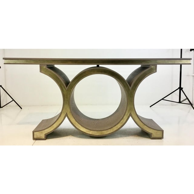 Global Views Modern Gray and Champagne Silver Link Console Table For Sale In Atlanta - Image 6 of 6