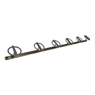 Bronze and Nickel French Modernist Wall Mount Coat Rack For Sale