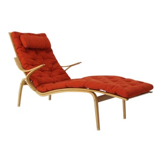 Alvar Aalto Bent Wood Red Wool Upholstery Chaise Lounge Chair For Sale