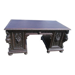 Antique.Victorian Highly Carved Partner Desk For Sale