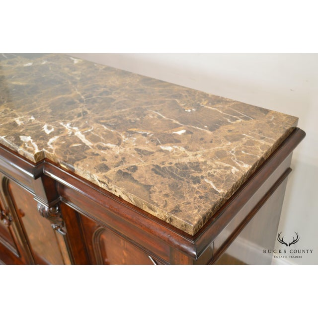 Wood Henredon Mahogany Empire Style Marble Top Sideboard For Sale - Image 7 of 13
