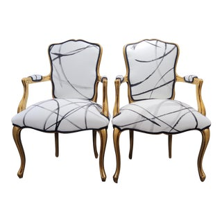 Louis XV Abstract Print White and Black Chairs - a Pair For Sale