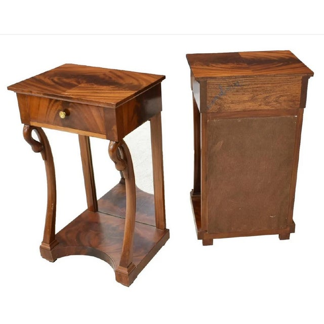 Empire Antique French Empire Bookmatched Mahogany Swan Head Nightstand or Side Table - a Pair For Sale - Image 3 of 7