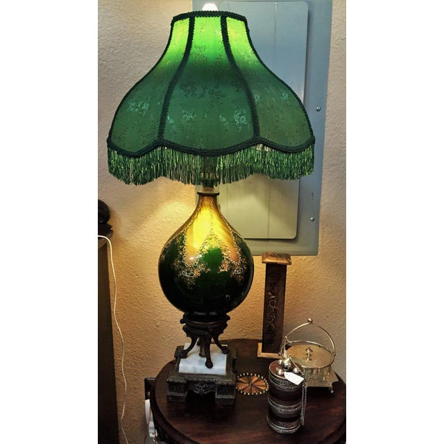 Bronze Vintage Murano Glass Table Lamp With Gold Overlay and Bronze and Marble Mounts For Sale - Image 7 of 13