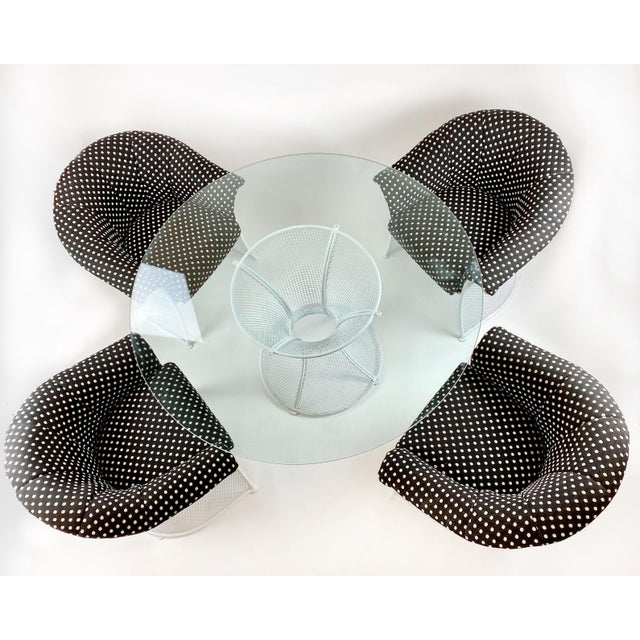 Mid-Century Modern Rare 1950s Russell Woodard Black and White Polka Dot Patio Wrought Iron Set For Sale - Image 3 of 13