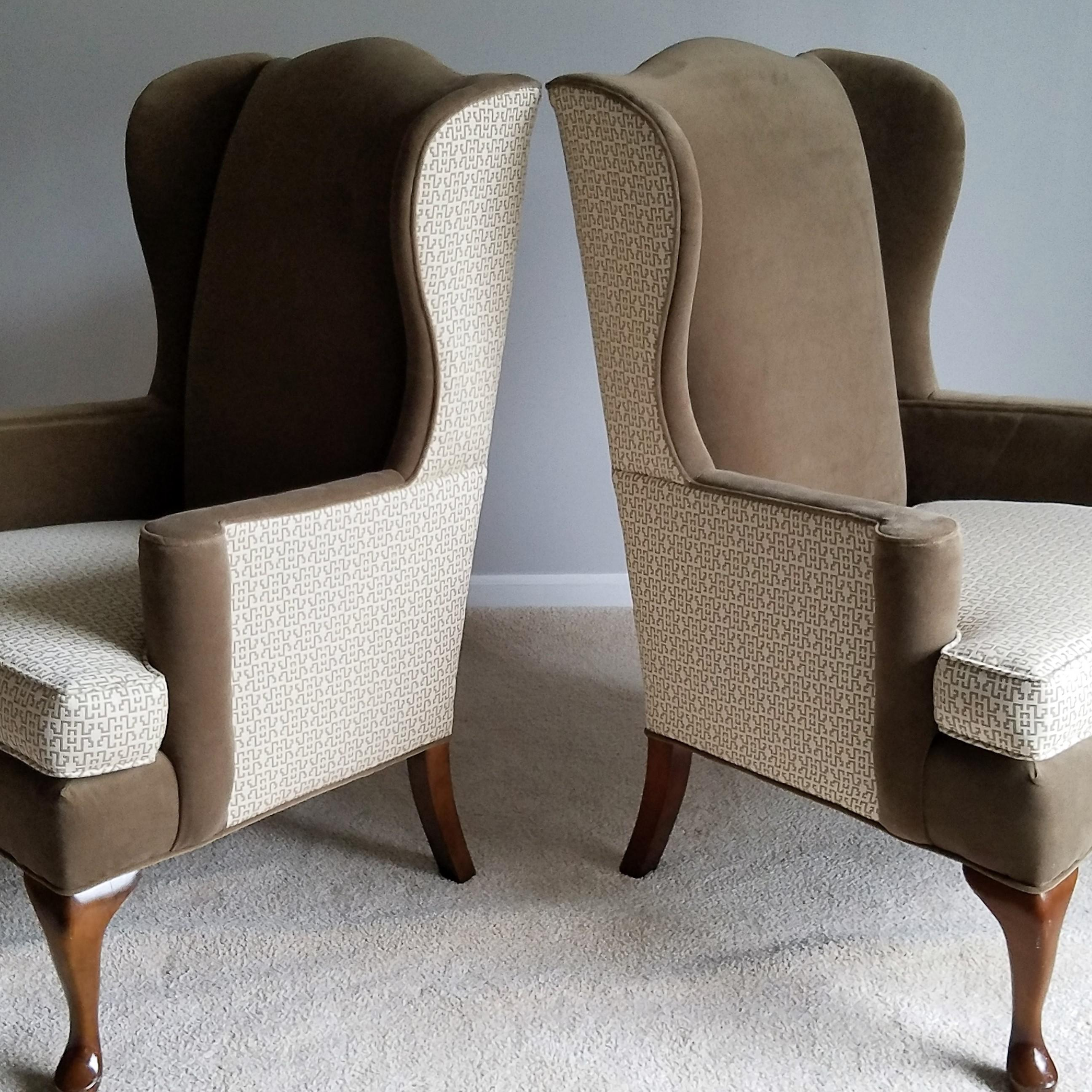 Vintage Queen Anne Wingback Chairs