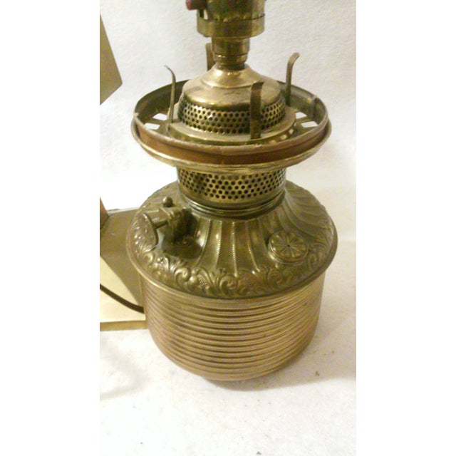 Glass Antique Style Brass and Pink Slag Glass Lamp For Sale - Image 7 of 11