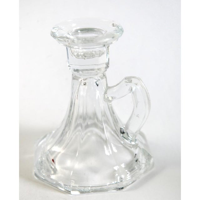 Traditional Bugle Shaped Glass Candle Holders - A Pair For Sale - Image 3 of 4