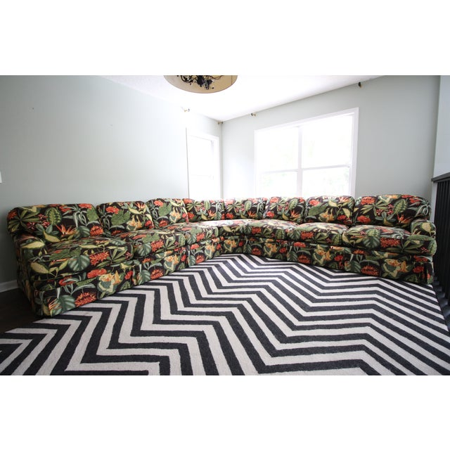 Drexel Heritage Tropical Print Sectional Sofa - Image 2 of 7