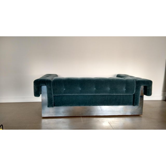 Milo Baughman Art Deco Mohair-Tuxedo Sofa For Sale - Image 5 of 5
