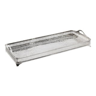 Antique Silver Plate Rectangular Gallery Trophy Tray For Sale
