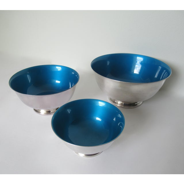 Reed & Barton Silver Plate Bowls With Peacock Blue Enameled Interiors -Set of 3 For Sale In West Palm - Image 6 of 13