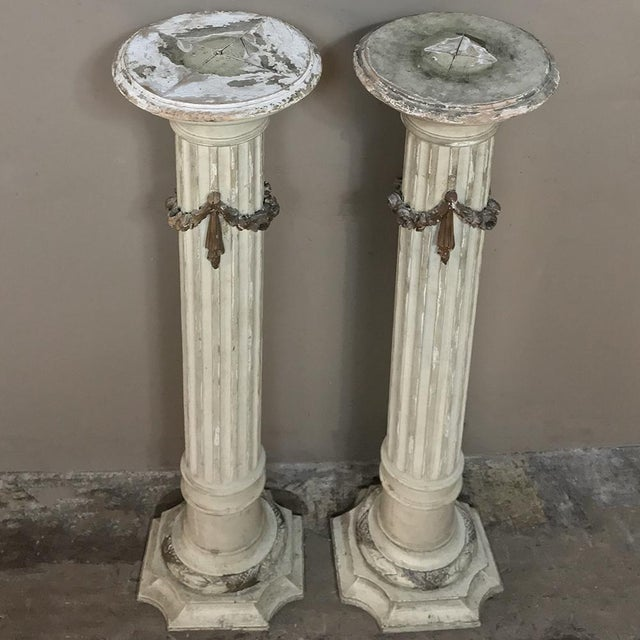 Pair 19th Century French Louis XVI Painted Pedestals For Sale - Image 10 of 13