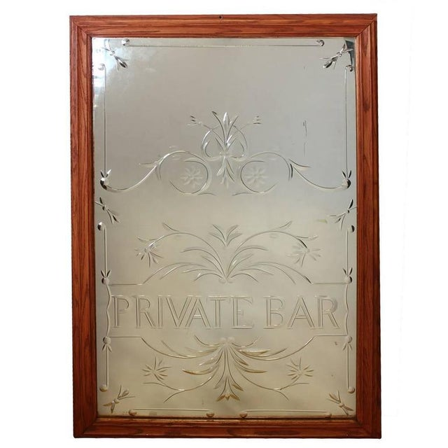 "English Traditional Vintage English ""Private Bar"" Glass Sign For Sale - Image 3 of 3"