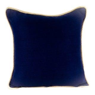 Dark Blue Solid Linen Pillow For Sale