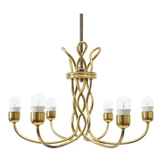 Austrian Art Deco Brass Chandelier, 1920s