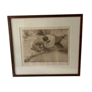 Antique Photogravure 1920s Original Edward Curtis Native American Depositing a Prayer Stick For Sale