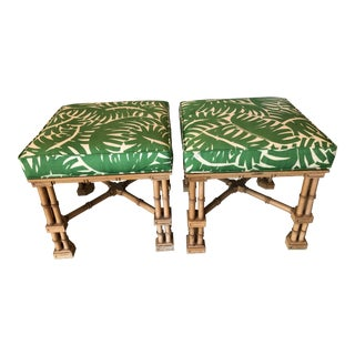 Vintage Palm Beach Tropical Faux Bamboo Upholstered Leaf Stools Benches Ottomans -A Pair For Sale