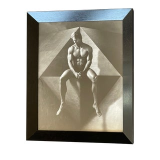 1970s Figurative Male Nude Black and White Photograph, Framed For Sale