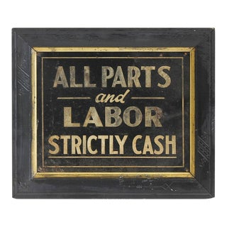"1900s Hand Painted ""All Parts & Labor Strictly Cash"" Biker's Shop Tin Sign"