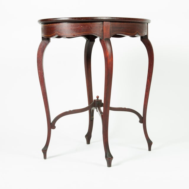 1900s Antique Inlaid Top Mahogany End Table For Sale - Image 4 of 5