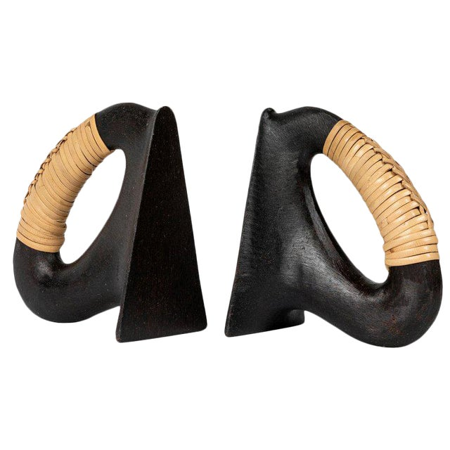 Carl Auböck Model 'Flatiron' Patinated Brass and Cane Bookends - A Pair For Sale