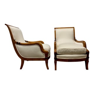 Pair of Biedermeier Style Lounge Chairs For Sale