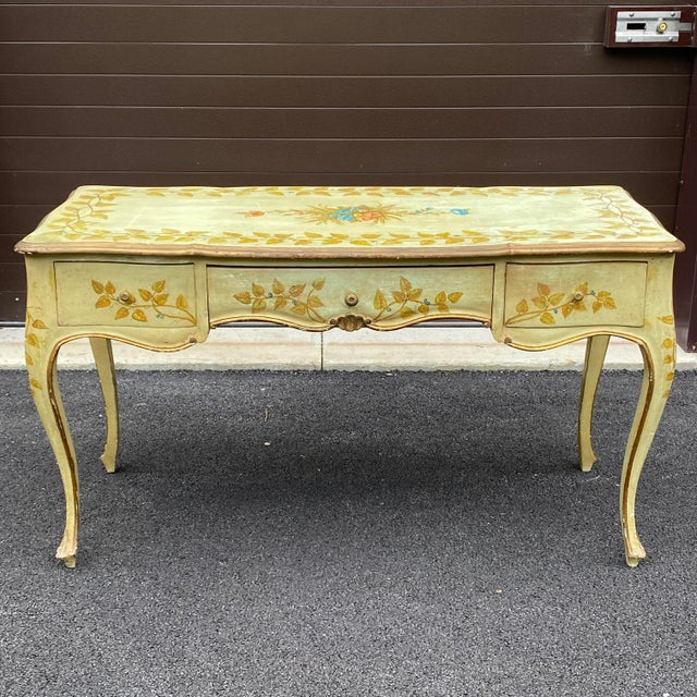 Distressed French Provincial Painted Desk For Sale - Image 13 of 13