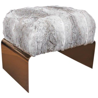 Bespoke Luxury Ottoman or Stool in Lapin Fur and Black Chrome For Sale