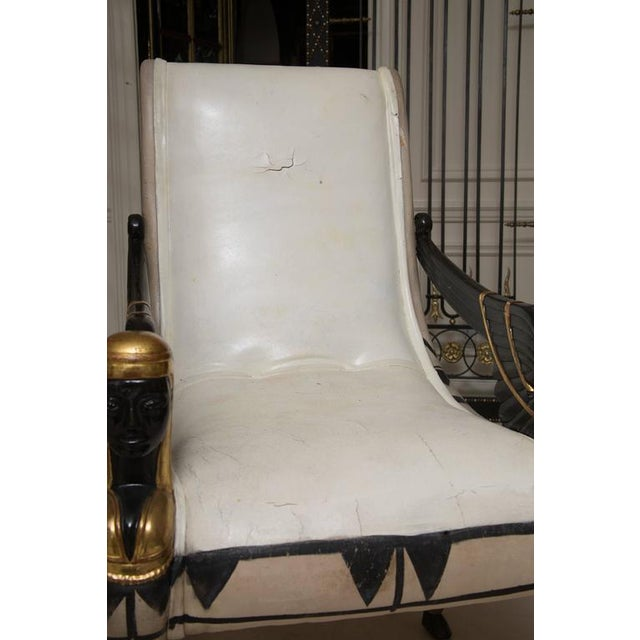 Animal Skin Early 20th Century Pair of Painted and Parcel Gilt Bugatti Armchairs For Sale - Image 7 of 10