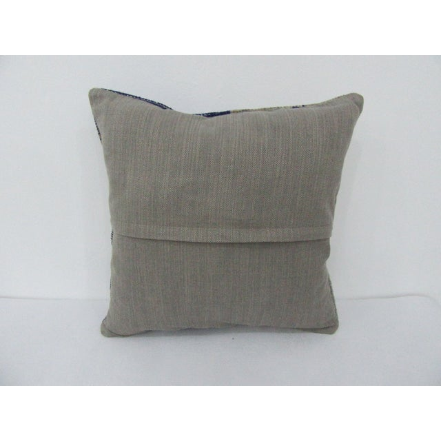 Turkish Turkish Navy & Beige Vintage Pillow Cover For Sale - Image 3 of 4