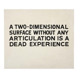John Baldessari 'A Two-Dimensional Surface Without Any Articulation Is a Dead Experience' Text Museum Poster For Sale