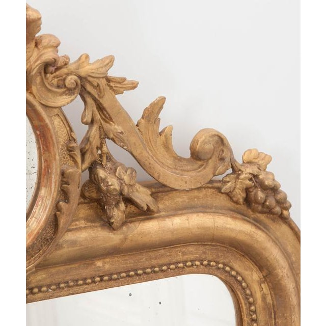 French 19th Century Ornately Carved Giltwood Over-Mantle Mirror For Sale - Image 11 of 13