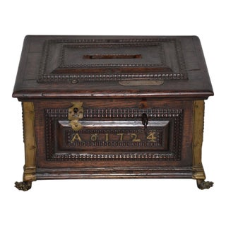Early 18th Century Carved Walnut & Brass Alms Box C. 1724 For Sale