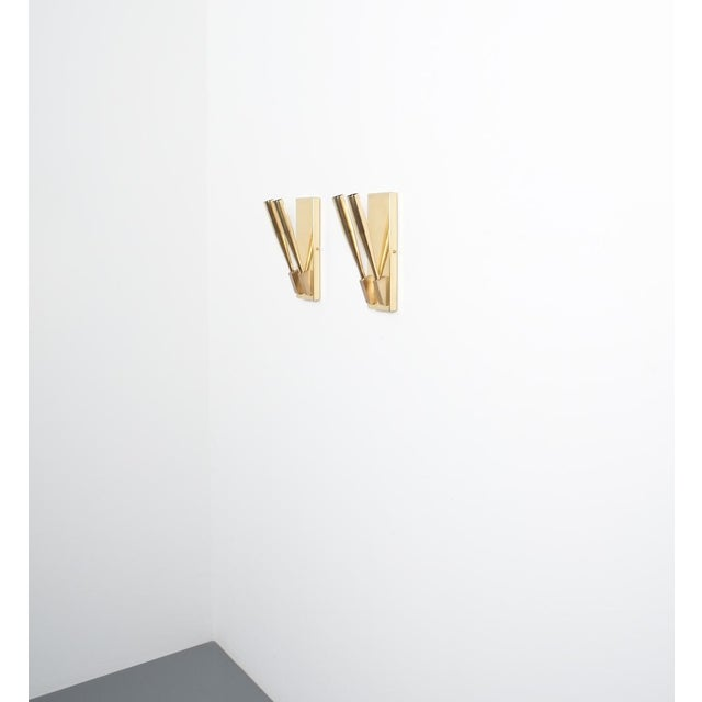 Contemporary Brass Wall Lights Sconces Attributed Gio Ponti Midcentury For Sale - Image 3 of 11