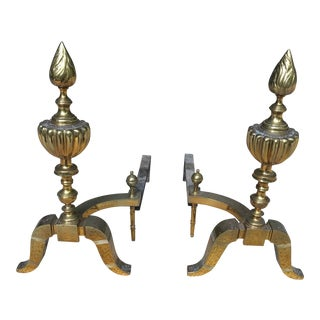 20th Century Federal Brass & Iron Andirons - a Pair For Sale