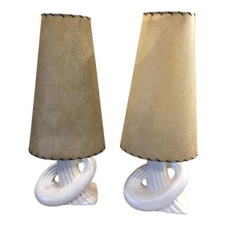 1950s Mid Century Gonder Pottery Table Lamps - a Pair For Sale