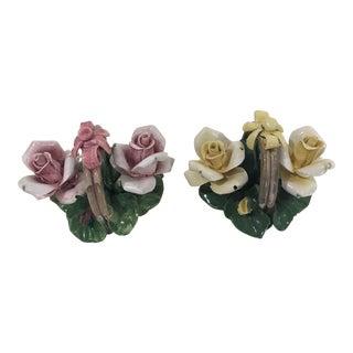 Vintage Campodimonte Porcelain Flower Baskets - a Pair