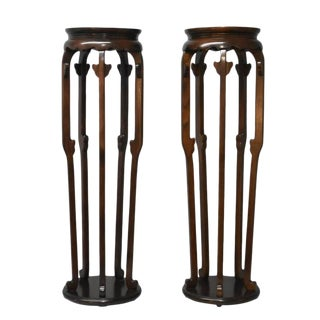 Michael Taylor for Baker Furniture Asian Burl Wood Plant Stand Pedestals - a Pair For Sale
