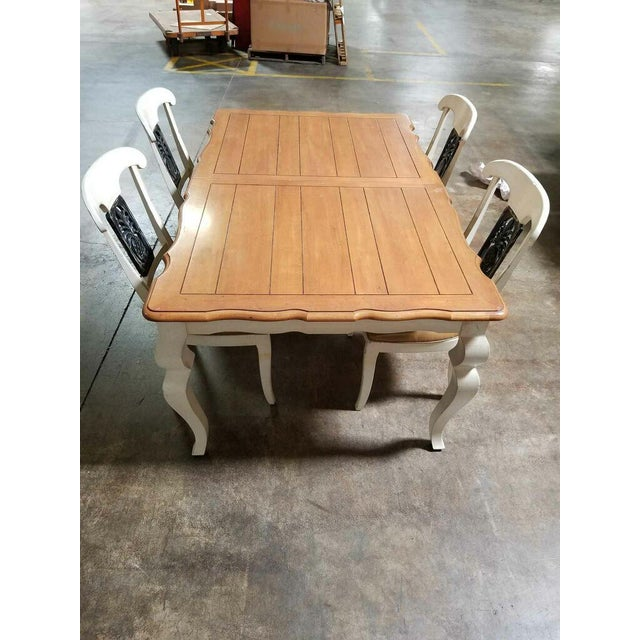 Ethan Allen Legacy Collection Double Leaf Table & Leather Chairs - Image 2 of 8