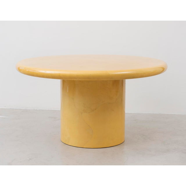 ec26d59cd74 Yellow Stunning Center or Dining Table in Lacquered Parchment by Karl  Springer