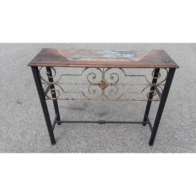 Metal Antique European Hand Wrought Iron Transom Console For Sale - Image 7 of 7