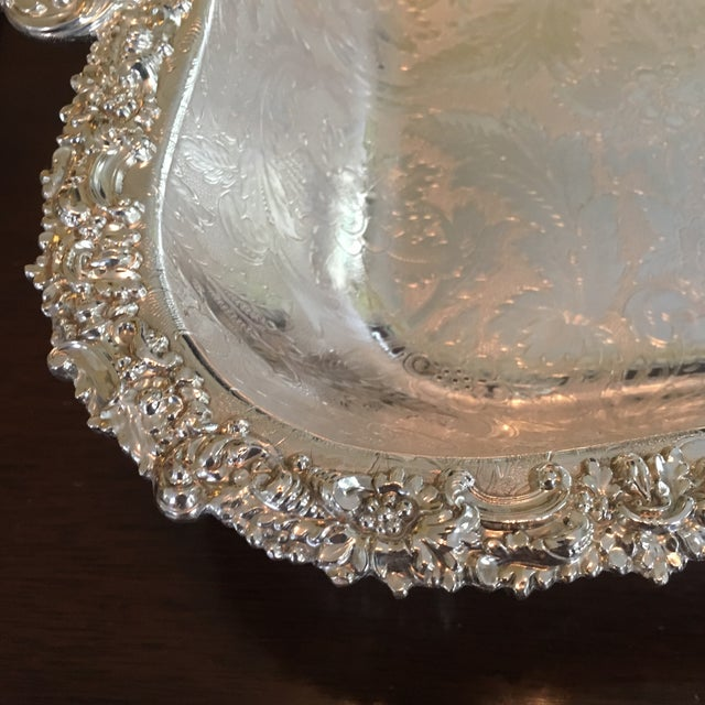 Aesthetic Movement Barker Ellis Hand Applied Silver Tray For Sale - Image 3 of 13