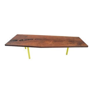 Large Contemporary Walnut Slab Coffee Table For Sale