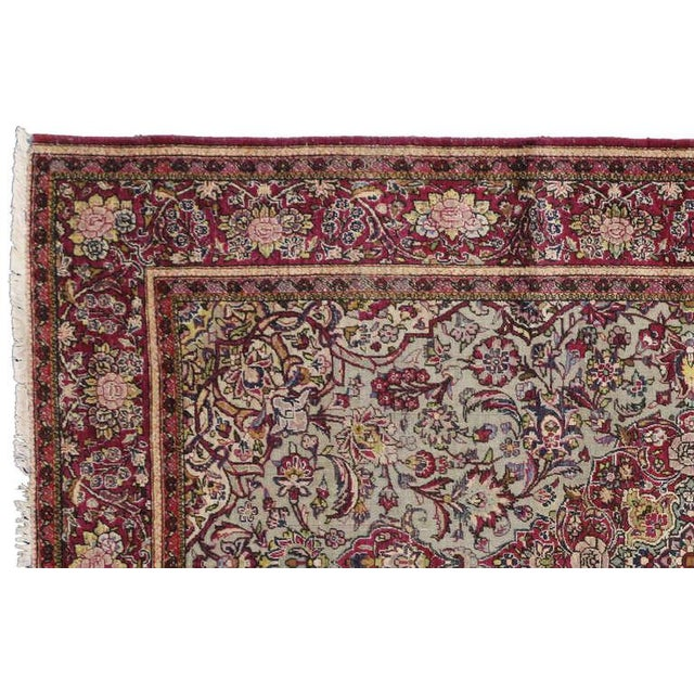 Late 19th-Century Antique Silk Persian Kashan with Jewel-Tone Colors For Sale - Image 9 of 10