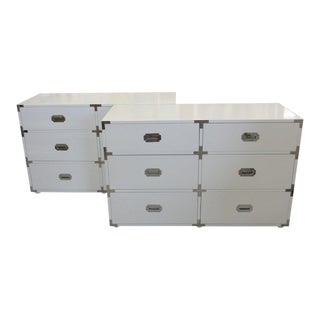 White Lacquered Campaign Chests - A Pair For Sale