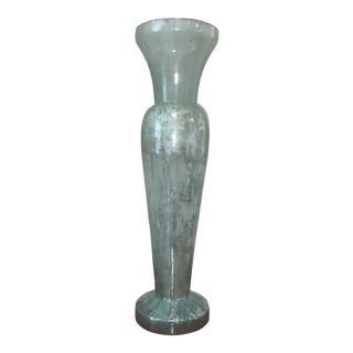 Tall Blue/Green Glass Vase For Sale