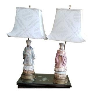 Antique Chinese Emporer Porcelain Lamps - 2 For Sale